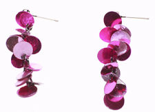 Flamboyant & Fun - Fuchsia Pink Sequin Cluster/ Cute Metal Earrings(Zx189)