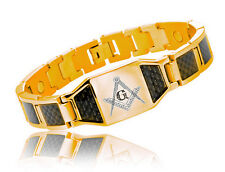 Masonic Bracelet Gold Plated Steel w/ Black Carbon Fiber Freemason Link Bracelet