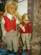 Vintage PAIR, Old Cottage England, Equestrian LARGE & small sister dolls (rare)