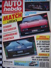 auto-hebdo 1987 FERRARI TESTAROSSA / LAMBORGHINI COUNTACH + 002 4X4 / 24 H  SPA