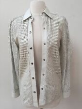 Celine Ivory White Leather Perforated Jacket Top Blouse Neiman Marcus 36 S 2 4