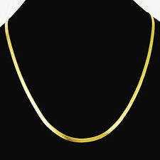 Charming 24K Gold Plated Flat Snake Chains Men Women Necklace 4MM 20inch GJP080