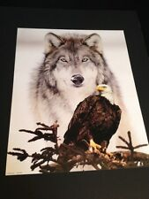 "Wolf W/ Eagle Large 16 X 20"" Picture Print In Lithograph by Dealer"