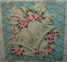 UNUSED- Wedding Bells, Pink Roses, Blue Lace - 40's Vintage LACIES Greeting Card