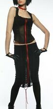 *Lip Service Black/Red Astro Vamps Mesh Knee Skirt Cyber Punk Goth Club L