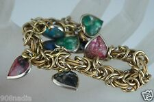 VINTAGE BRACELET GOLD TONE CHAIN,PINK,BLUE,GREEN HEART CHARMS