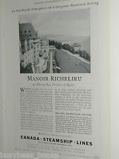 1932 Canada Steamship Lines advertisement, Manor Richelieu Quebec, CDN ad