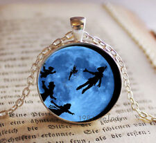 Vintage flying in night Cabochon Tibetan silver Glass Chain Pendant Necklace s29
