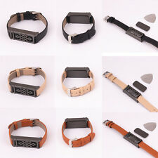 3pc Black/Beige/Brown Leather Wristband With Black Metal Housing For Fitbit Flex