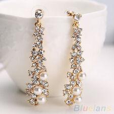 Elegant Womens Pearl Rhinestone Dangle Studs Stylish Chandelier Earrings Jewelry
