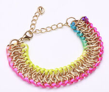 Playful, longitud ajustable oro tono chain-rope Rainbow Moda Pulsera (Cl18)