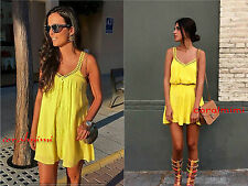 ZARA NEW YELLOW SHORT EMBROIDERED STRAPPY DRESS SIZE L