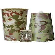 KIDS ARMY 3 PIECE CAMOUFLAGE BEDROOM SET LAMPSHADE BIN LIGHT COVER BOYS MTP