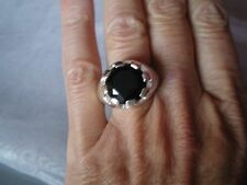 Black Onyx ring, 7.71 carats, size L/M, in 7.16 grams of 925 Sterling Silver