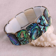 "14X19MM Abalone Shell Rectangle Beads Gemstone Stretchy Bracelet Bangle 7""L"