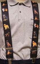 """Suspenders 2""""x48"""" FULLY Elastic Animal Dogs assorted large breeds NEW"""