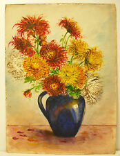 Bouquet de fleurs aquarelle still life flowers nature morte watercolor c 1930
