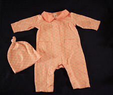 Vintage BABY GAP 2001 Coral Pink Romper One-Piece with Matching Hat 3-6M
