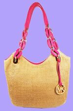 MICHAEL KORS LILLY Natural/Pink Straw/Leather Tote Bag Msrp $328.00