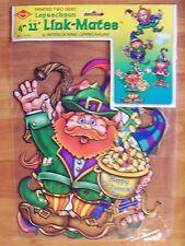 """2000 Beistle 4 Pack 11"""" Leprechaun Link Mates St Patrick Cutouts Decoration NOS"""
