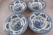 Johnson Brothers China OLD BRITAIN CASTLES Rim Cereal Bowls - Set of Four - New