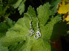 HANDMADE SILVERTONE OHM CHARM EARRINGS - YOGA/MEDITATION