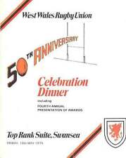 West Wales RU 50th Anniv Celebration Dinner 1979 Rugby Menu Card, Swansea