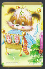 #920.675 Blank Back Swap Cards -NEAR MINT- Christmas Critter in bed