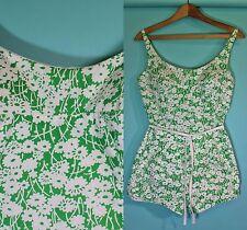 Vtg 70s Kelly Green white Flower print Pin Up Swimsuit Playsuit Romper