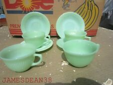 LOT OF 4 FIRE KING JADEITE JANE RAY COFFEE TEA CUPS AND SAUCERS VINTAGE