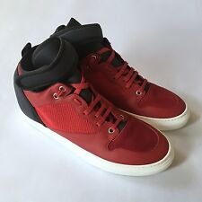 NWT $795 Balenciaga Paris Men's Red Navy Leather Neoprene Sneakers 8 AUTHENTIC