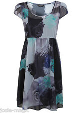 Miss Selfridge Floral Rose Print Empire Dress 8 36 Grey Blue Green Chiffon New