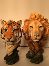 NEW WildLife Tiger & Lion Bust Statue Figures Sculpture Ship Immediately !!!