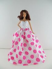 White Satin Gown with Large Pink Polka Dots Made to Fit Barbie Doll