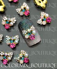 #CA082  3D Bijoux ongles nail art tip décorations noeud melange couleurs strass