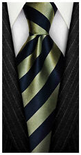 7 Fold 100% Silk Necktie ❤ Green & Blue Stripe ❤ Seven Folds ties a Big Knot