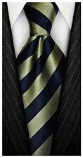 7 Fold 100% Silk Necktie ❤ Green & Blue Stripe ❤ Seven Folds ties a Big Knot