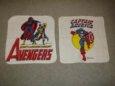 (2) 1970's  MARVEL SUPERHERO WASH CLOTHS, CAPTAIN AMERICA & THE AVENGERS , MMMS