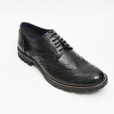 Lucini Mens Leather Lace Up Brogue Shoes Size 6 7 8 9 10 11 12