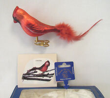 KREBS GLAS LAUSCHA RED CARDINAL CLIP ON BLOWN GLASS ORNAMENT WITH FEATHERS & BOX