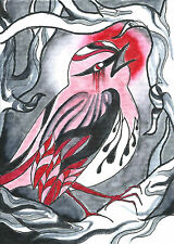 Bird Warbler Blood Moon Autumn Night Ink Drawing - ACEO Archival Print 2 of 10