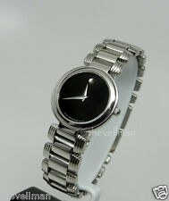 Womens Authentic Swiss Movado Serenade 0605016 Stainless Black Museum Dial Watch