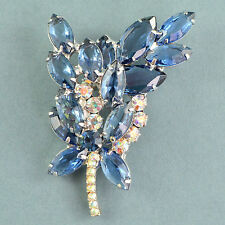 Vintage Brooch JULIANA Large 1960s Blue Crystal & Silvertone Bridal Jewellery