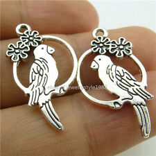 15028*30PCS Silver Vintage Animal Round Ring Flower Parrot Pendant Alloy