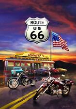 Route 66 Summer Patriotic Motorcycle Garden Flag