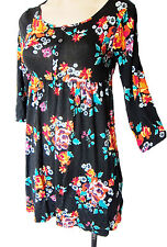 US size 14Y, UK size S steretch H&M black floral dress, larger girl sizes