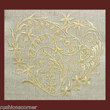 """Laura Ashley Linen with Embroidered Gold Heart 16""""x16""""  Cushion Cover"""