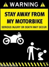 WARNING STAY AWAY FROM MY MOTORBIKE HELMET STICKER HARD HAT STICKER