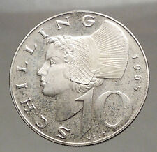 1965 Austria Wachau Woman 10 Schilling Silver Austrian Coin with Shield i57070