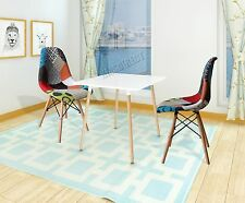 FoxHunter Retro Patchwork Chair Fabric Seat Vintage x2 Home Furniture PC001 DSW